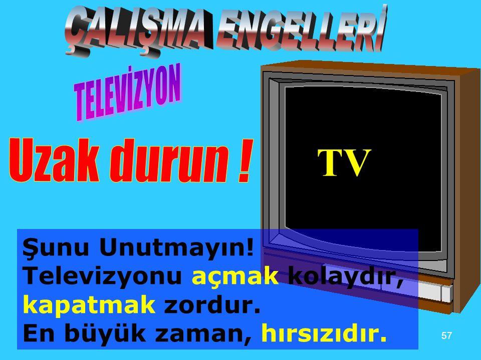 TV ÇALIŞMA ENGELLERİ TELEVİZYON Uzak durun ! Şunu Unutmayın!