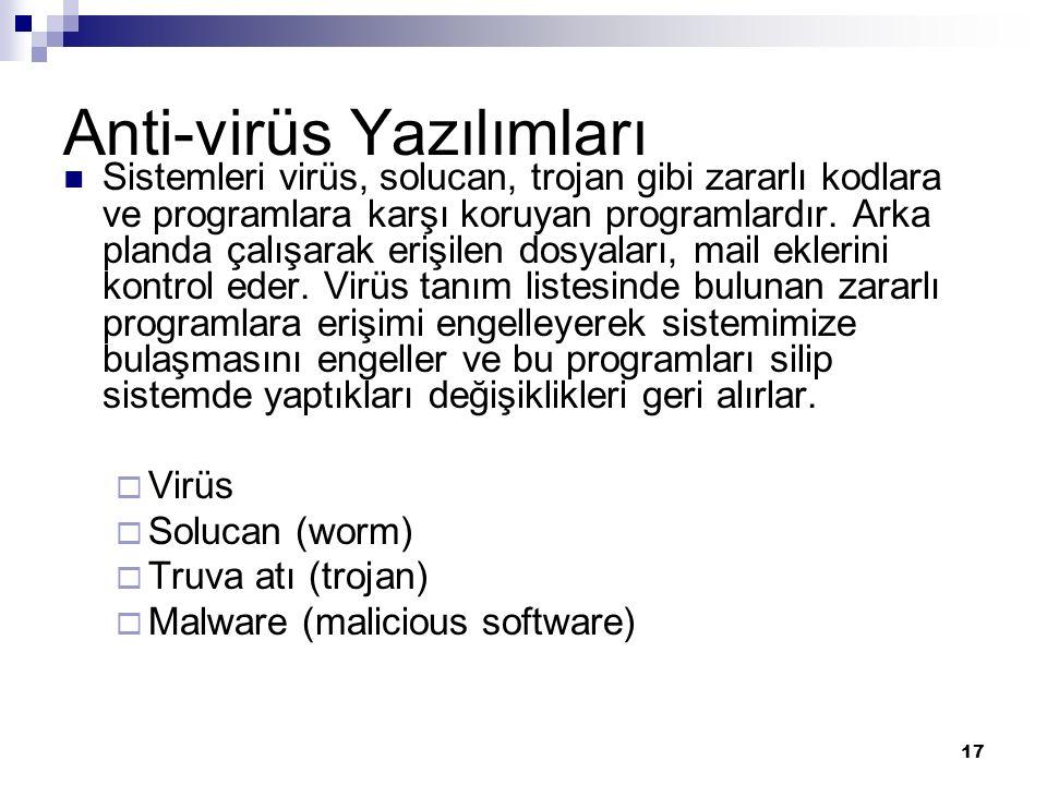 Anti-virüs Yazılımları