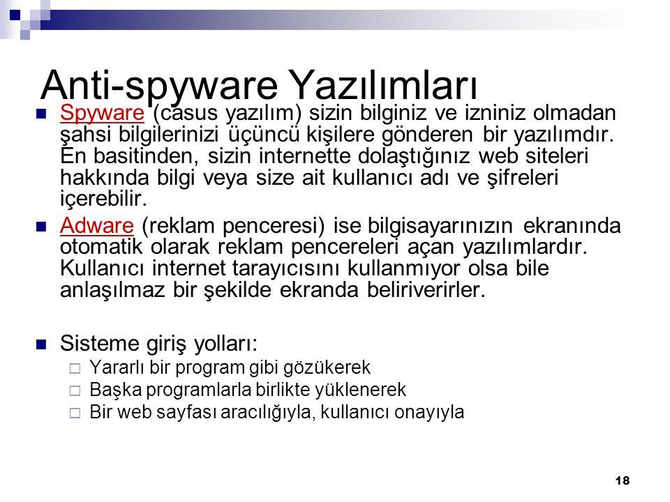 Anti-spyware Yazılımları