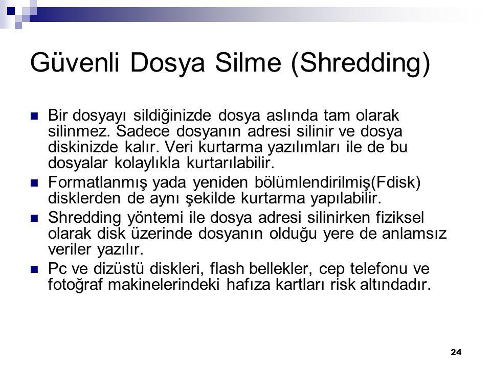 Güvenli Dosya Silme (Shredding)