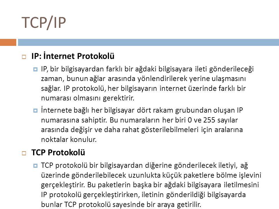 TCP/IP IP: İnternet Protokolü TCP Protokolü