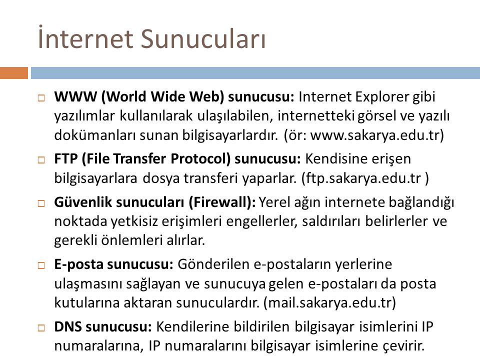 İnternet Sunucuları