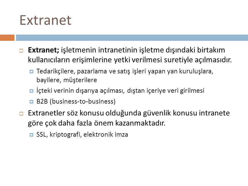 Extranet Extranet; işletmenin intranetinin işletme dışındaki birtakım kullanıcıların erişimlerine yetki verilmesi suretiyle açılmasıdır.