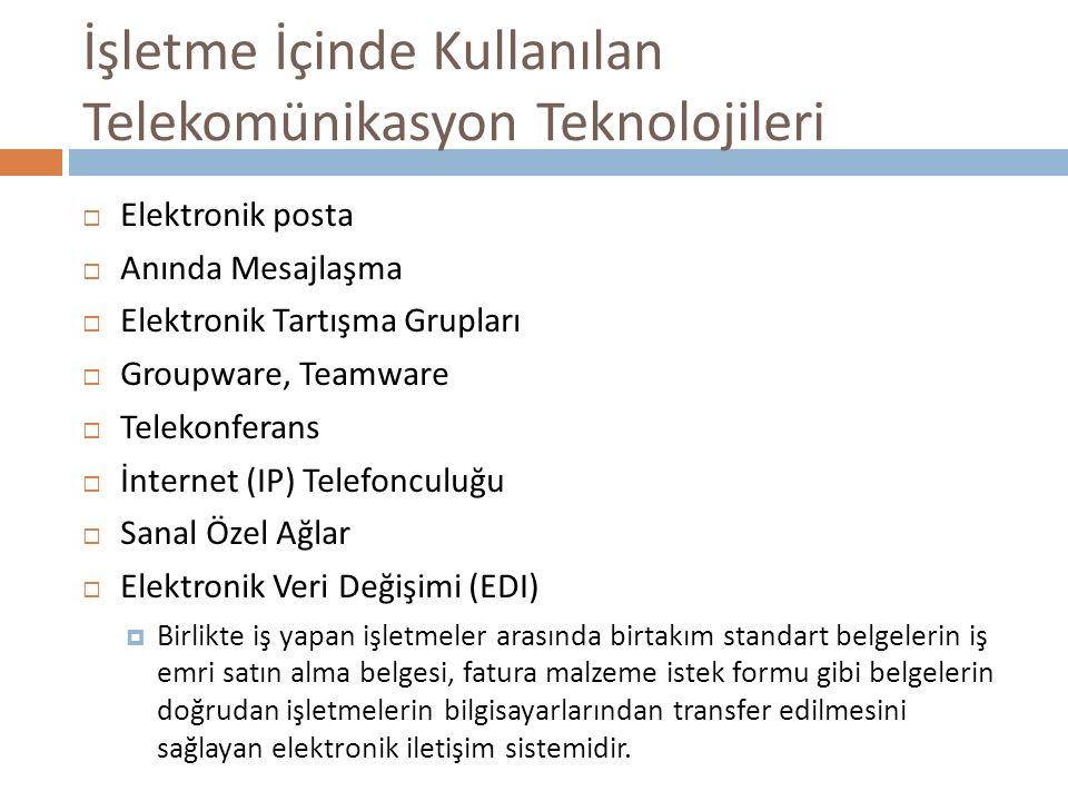 İşletme İçinde Kullanılan Telekomünikasyon Teknolojileri