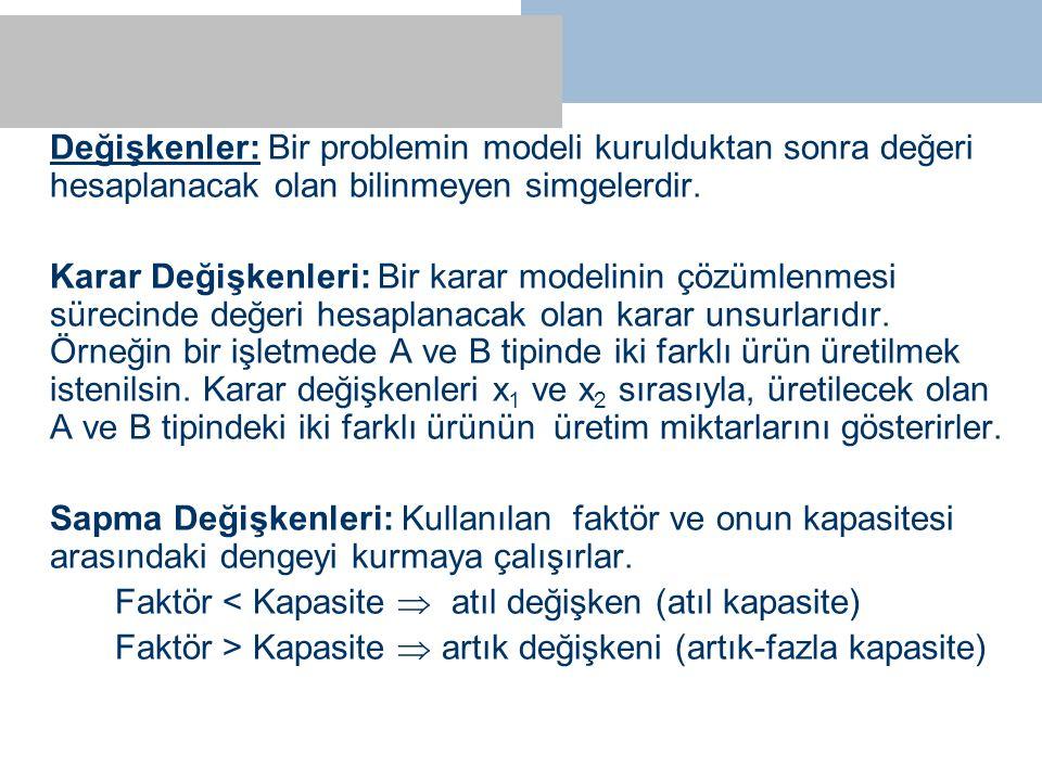 Değişkenler: Bir problemin modeli kurulduktan sonra değeri hesaplanacak olan bilinmeyen simgelerdir.