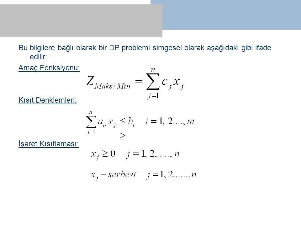 Bu bilgilere bağlı olarak bir DP problemi simgesel olarak aşağıdaki gibi ifade edilir: