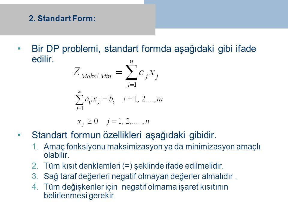 Bir DP problemi, standart formda aşağıdaki gibi ifade edilir.