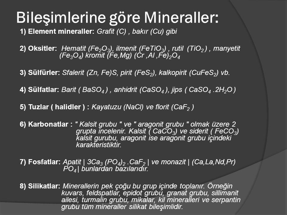 Bileşimlerine göre Mineraller: