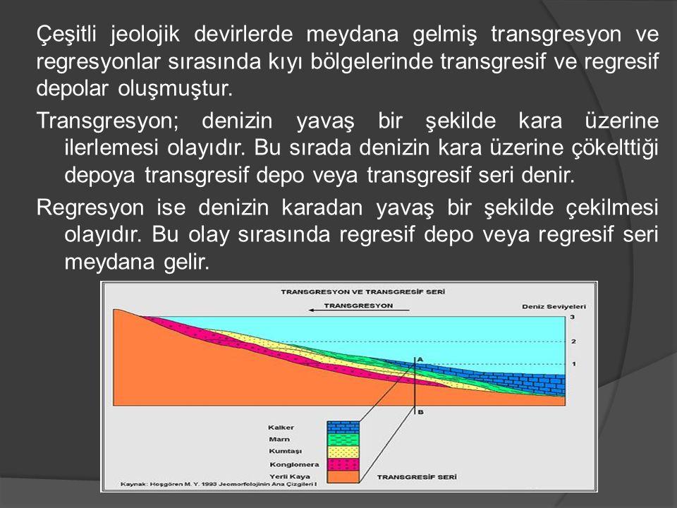 Çeşitli jeolojik devirlerde meydana gelmiş transgresyon ve regresyonlar sırasında kıyı bölgelerinde transgresif ve regresif depolar oluşmuştur.