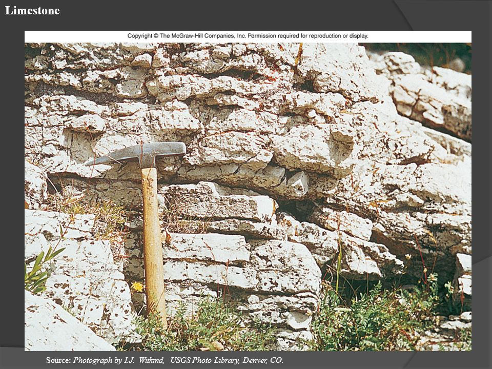 Limestone Source: Photograph by I.J. Witkind, USGS Photo Library, Denver, CO.