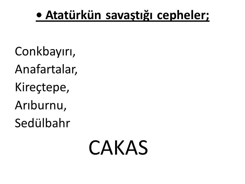 • Atatürkün savaştığı cepheler;