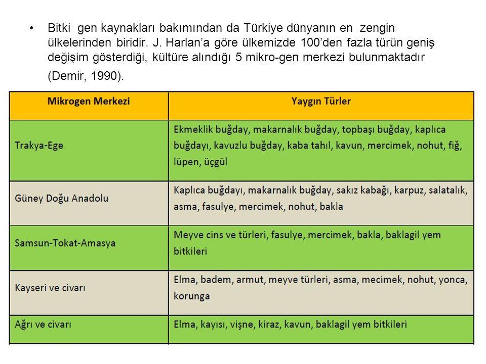 Bitki gen kaynakları bakımından da Türkiye dünyanın en zengin ülkelerinden biridir.