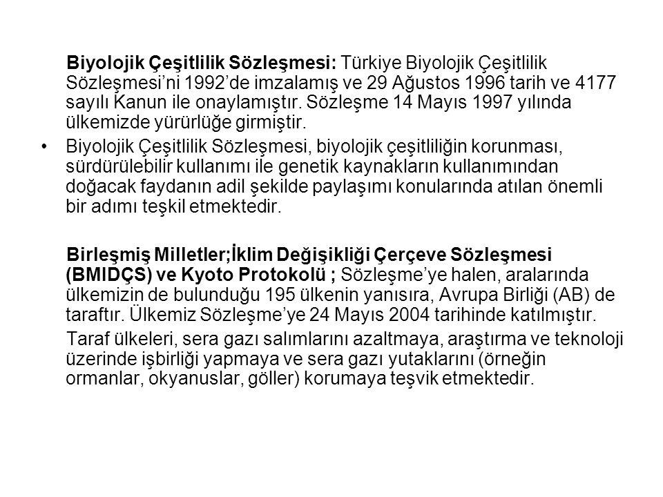 Biyolojik Çeşitlilik Sözleşmesi: Türkiye Biyolojik Çeşitlilik Sözleşmesi'ni 1992'de imzalamış ve 29 Ağustos 1996 tarih ve 4177 sayılı Kanun ile onaylamıştır. Sözleşme 14 Mayıs 1997 yılında ülkemizde yürürlüğe girmiştir.