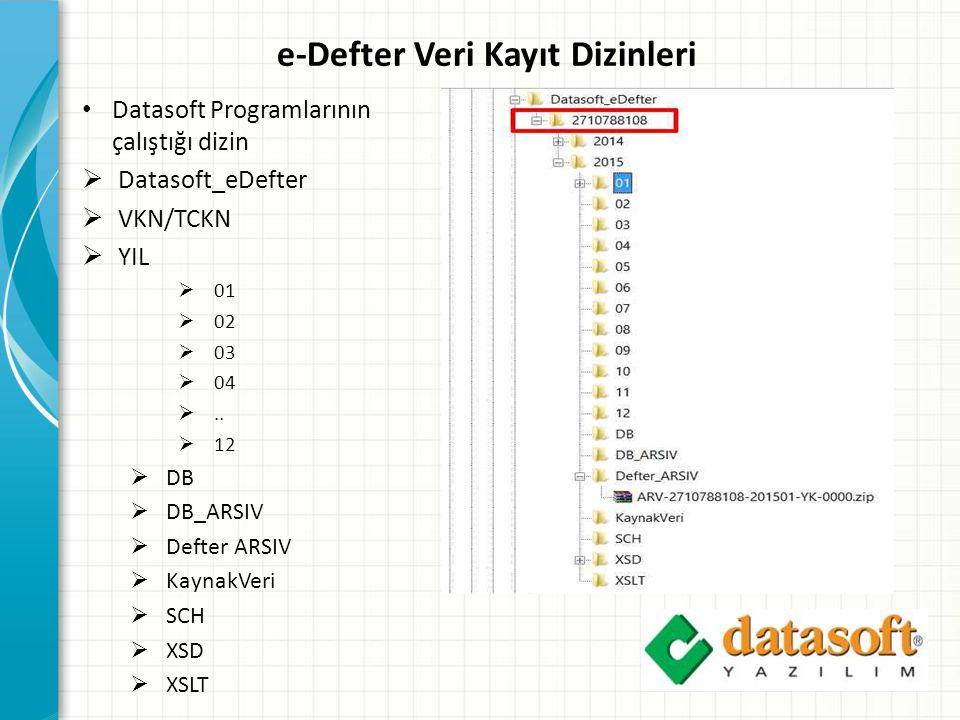e-Defter Veri Kayıt Dizinleri