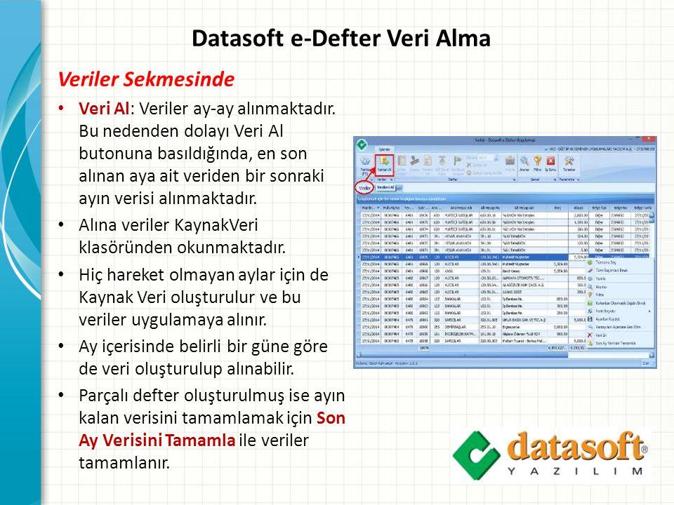 Datasoft e-Defter Veri Alma