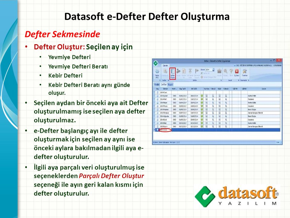 Datasoft e-Defter Defter Oluşturma