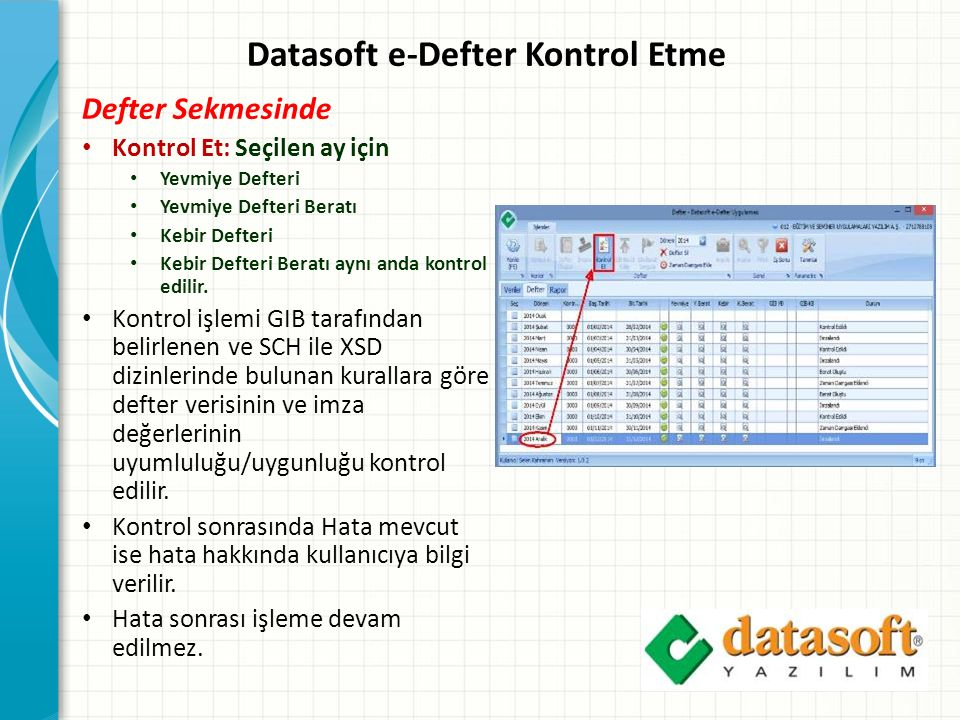 Datasoft e-Defter Kontrol Etme