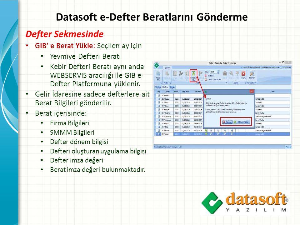 Datasoft e-Defter Beratlarını Gönderme