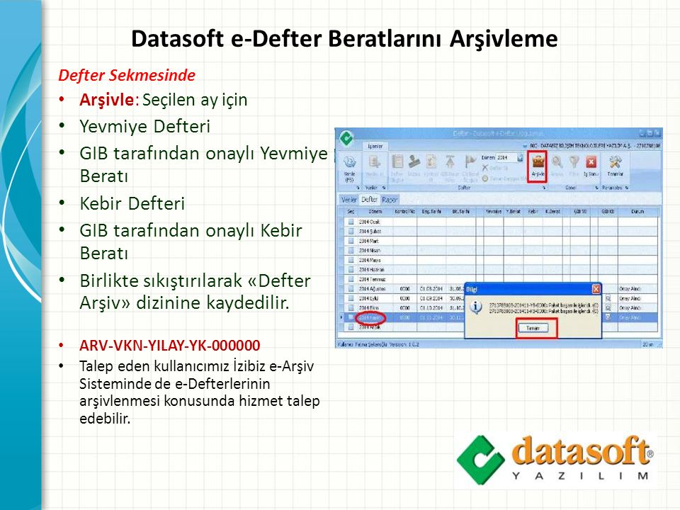 Datasoft e-Defter Beratlarını Arşivleme
