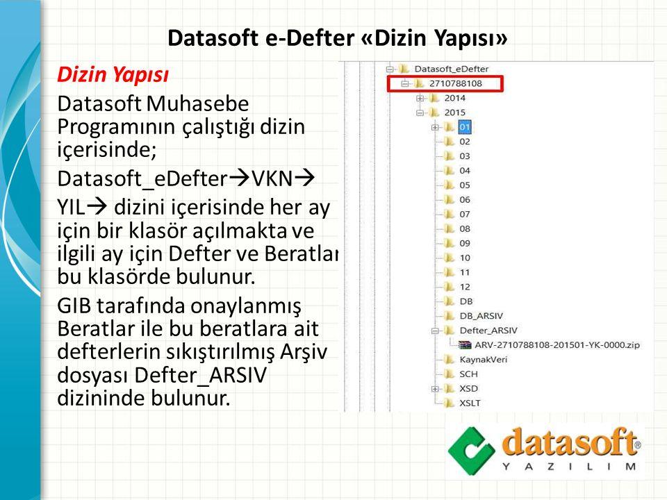Datasoft e-Defter «Dizin Yapısı»