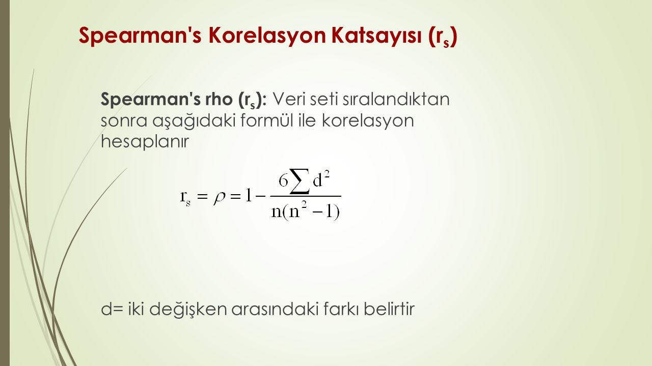 Spearman s Korelasyon Katsayısı (rs)