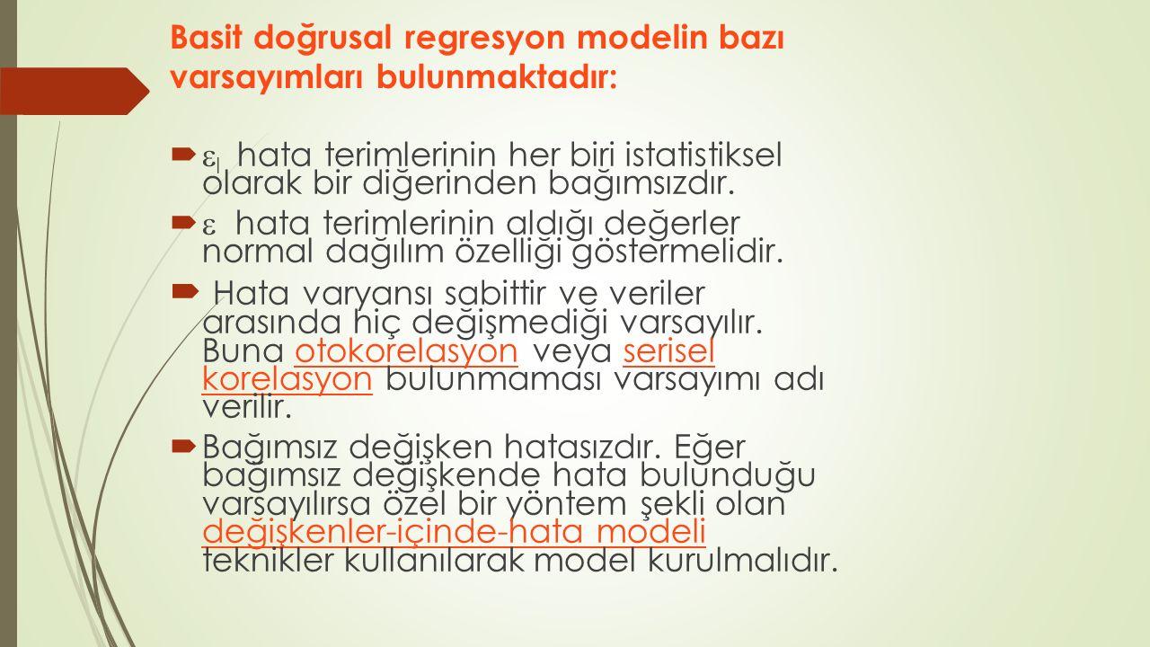 Basit doğrusal regresyon modelin bazı varsayımları bulunmaktadır: