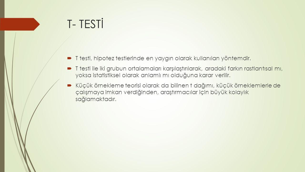 T- TESTİ T testi, hipotez testlerinde en yaygın olarak kullanılan yöntemdir.
