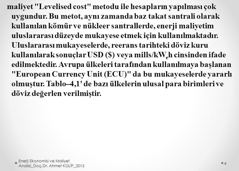 maliyet Levelised cost metodu ile hesapların yapılması çok uygundur