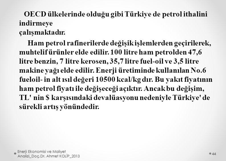 OECD ülkelerinde olduğu gibi Türkiye de petrol ithalini indirmeye çalışmaktadır. Ham petrol rafinerilerde değişik işlemlerden geçirilerek, muhtelif ürünler elde edilir. 100 litre ham petrolden 47,6 litre benzin, 7 litre kerosen, 35,7 litre fuel-oil ve 3,5 litre makine yağı elde edilir. Enerji üretiminde kullanılan No.6 fueloil- in alt ısıl değeri 10500 kcal/kg dır. Bu yakıt fiyatının ham petrol fiyatı ile değişeceği açıktır. Ancak bu değişim, TL nin $ karşısındaki devalüasyonu nedeniyle Türkiye de sürekli artış yönündedir.