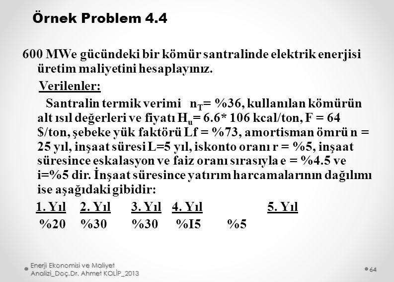 Örnek Problem 4.4 600 MWe gücündeki bir kömür santralinde elektrik enerjisi üretim maliyetini hesaplayınız. Verilenler: Santralin termik verimi nT= %36, kullanılan kömürün alt ısıl değerleri ve fiyatı Hu= 6.6* 106 kcal/ton, F = 64 $/ton, şebeke yük faktörü Lf = %73, amortisman ömrü n = 25 yıl, inşaat süresi L=5 yıl, iskonto oranı r = %5, inşaat süresince eskalasyon ve faiz oranı sırasıyla e = %4.5 ve i=%5 dir. İnşaat süresince yatırım harcamalarının dağılımı ise aşağıdaki gibidir: 1. Yıl 2. Yıl 3. Yıl 4. Yıl 5. Yıl %20 %30 %30 %I5 %5