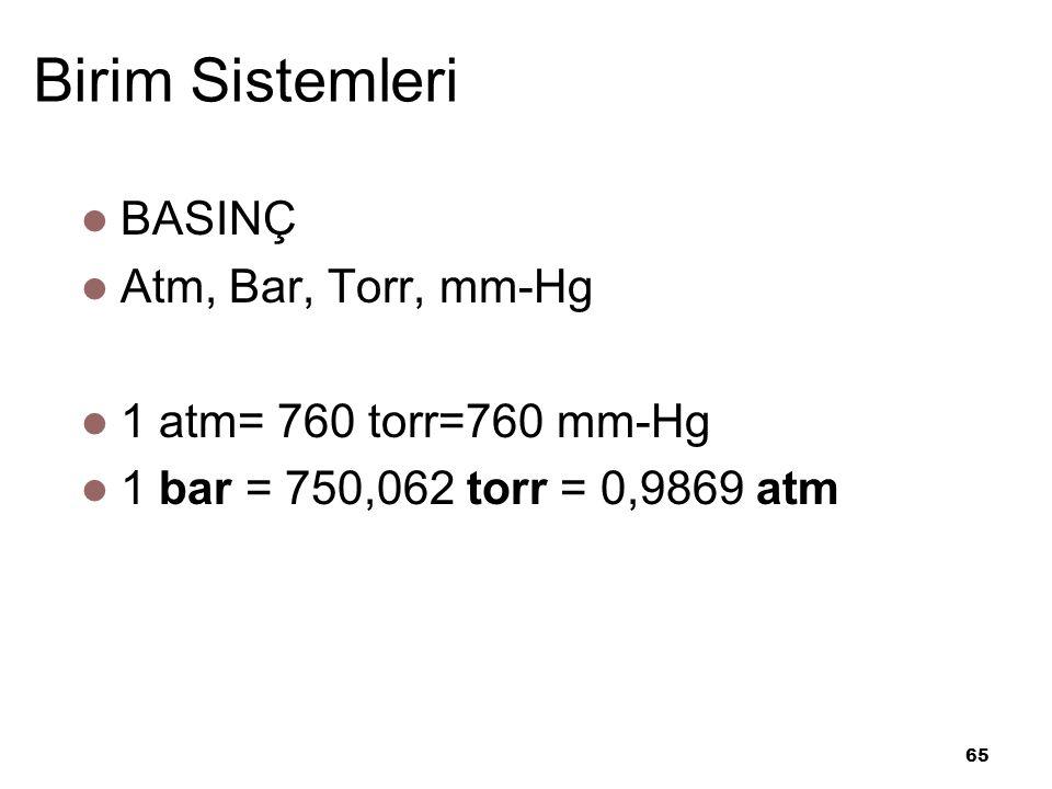 Birim Sistemleri BASINÇ Atm, Bar, Torr, mm-Hg