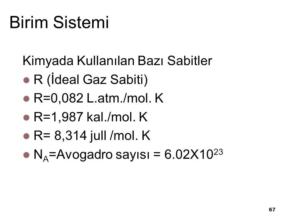 Birim Sistemi Kimyada Kullanılan Bazı Sabitler R (İdeal Gaz Sabiti)