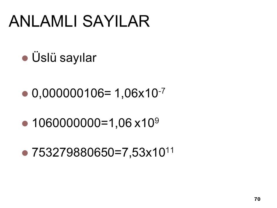 ANLAMLI SAYILAR Üslü sayılar 0,000000106= 1,06x10-7