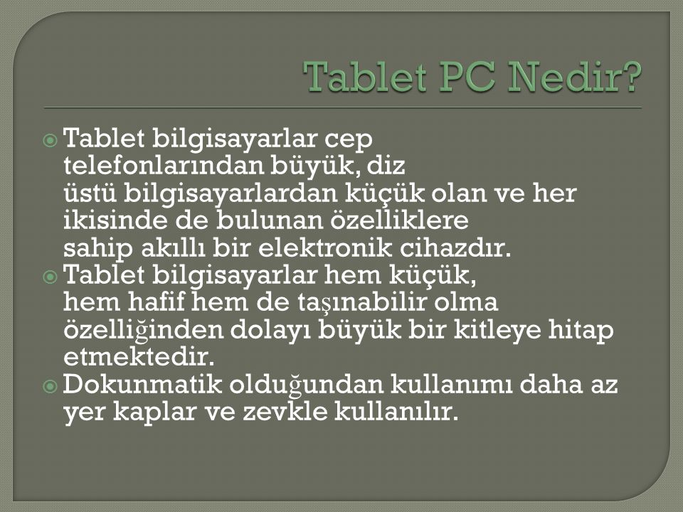 Tablet PC Nedir