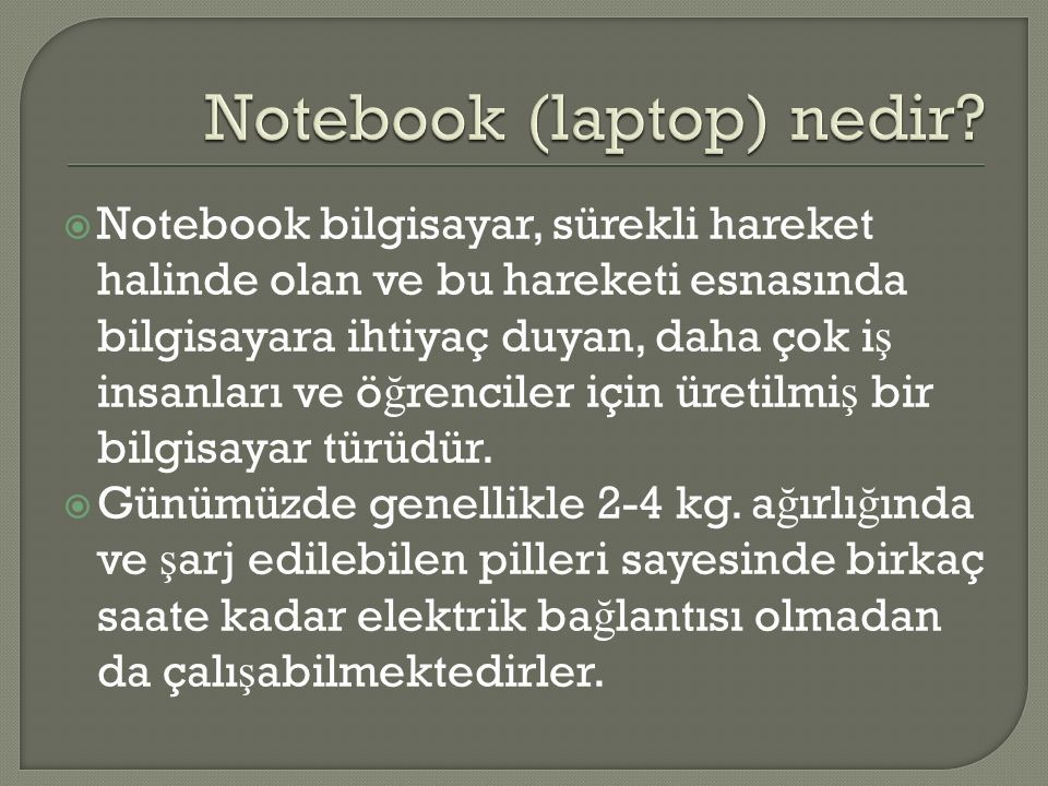 Notebook (laptop) nedir