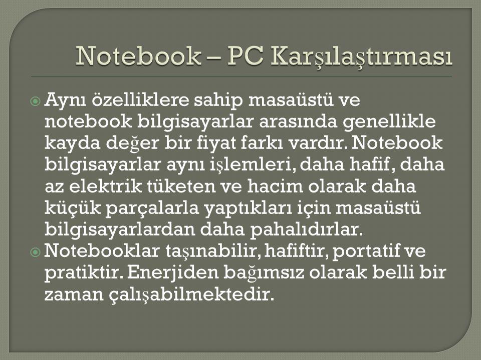 Notebook – PC Karşılaştırması