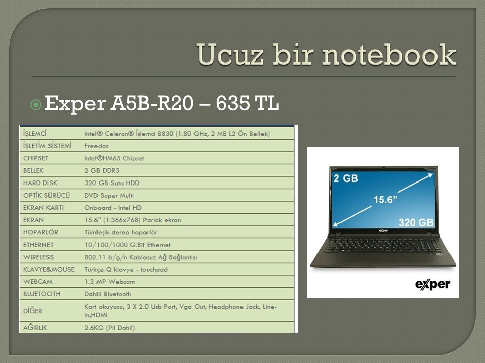 Ucuz bir notebook Exper A5B-R20 – 635 TL