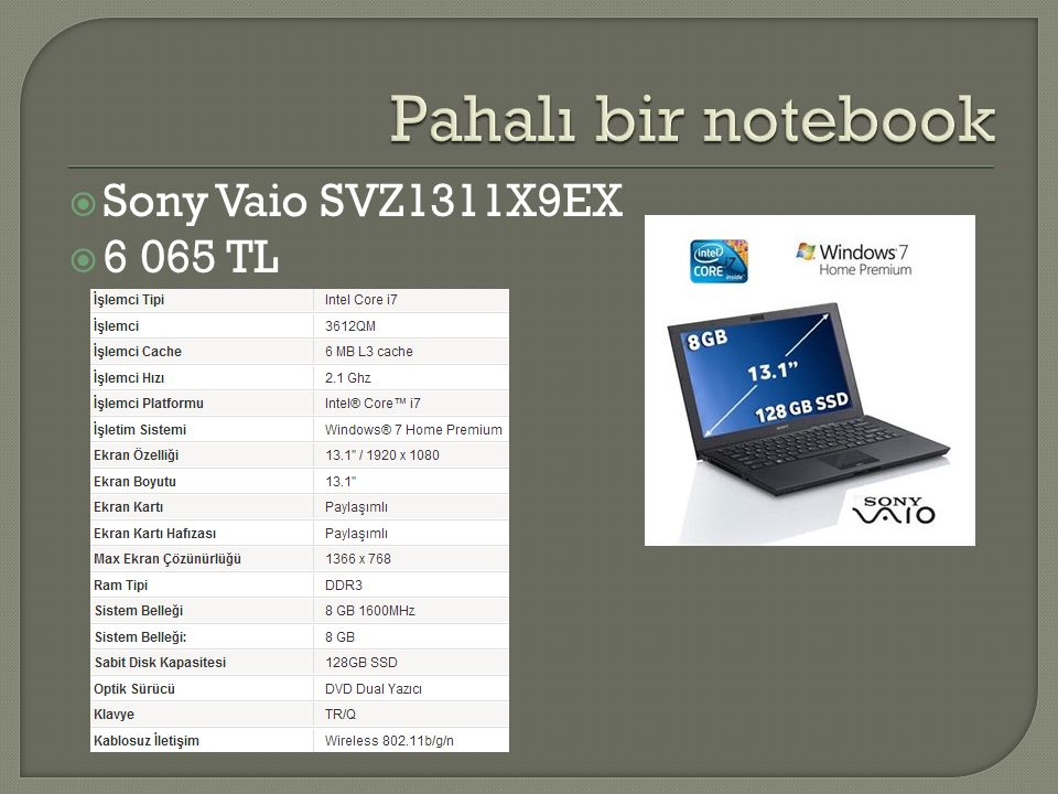 Pahalı bir notebook Sony Vaio SVZ1311X9EX 6 065 TL