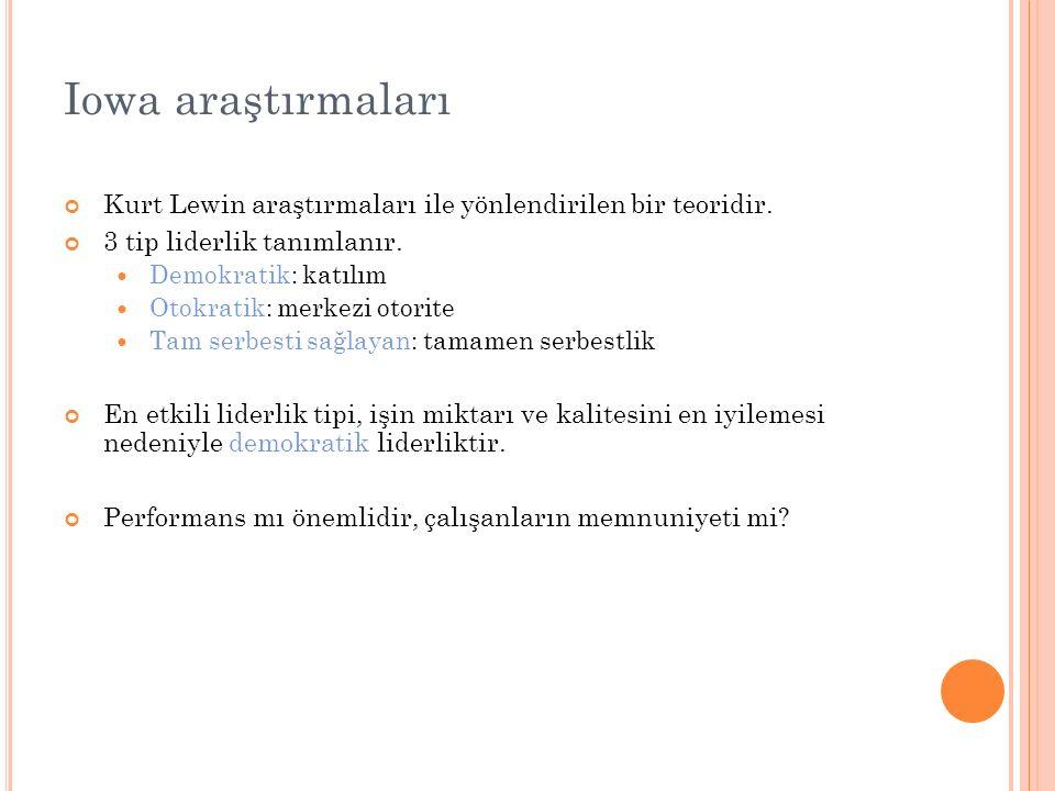 Iowa araştırmaları Kurt Lewin araştırmaları ile yönlendirilen bir teoridir. 3 tip liderlik tanımlanır.