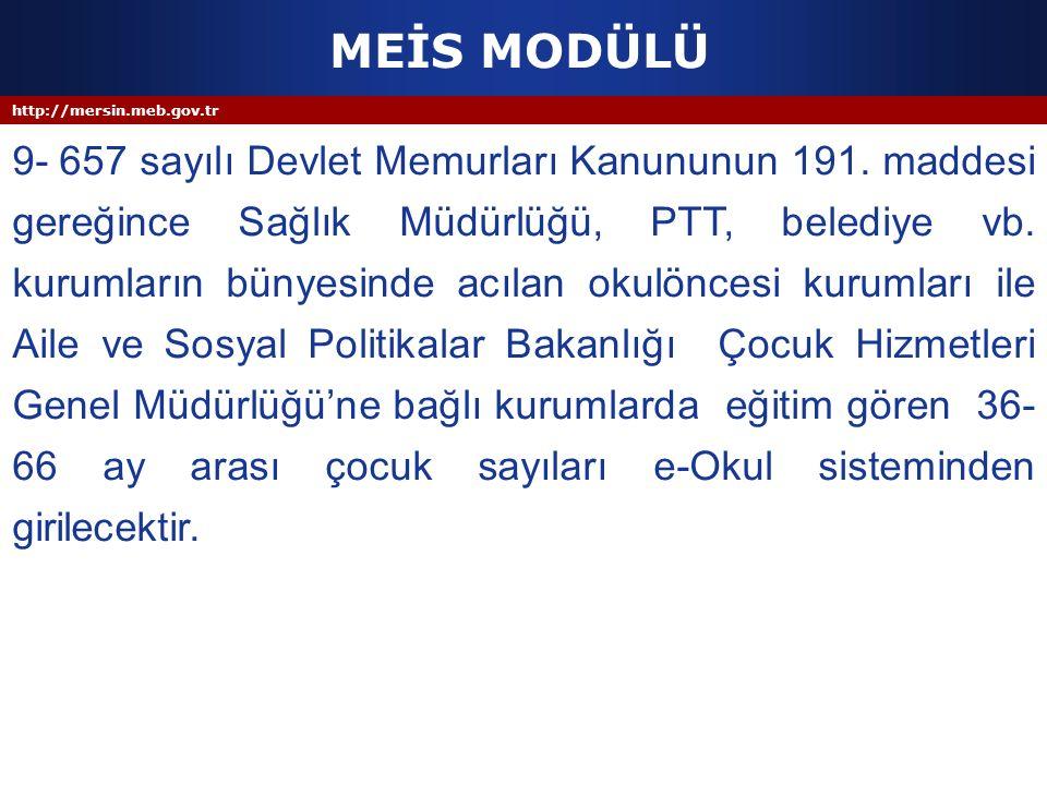 MEİS MODÜLÜ http://mersin.meb.gov.tr.
