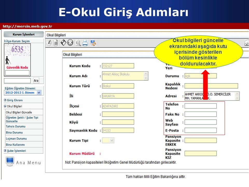 E-Okul Giriş Adımları http://mersin.meb.gov.tr.