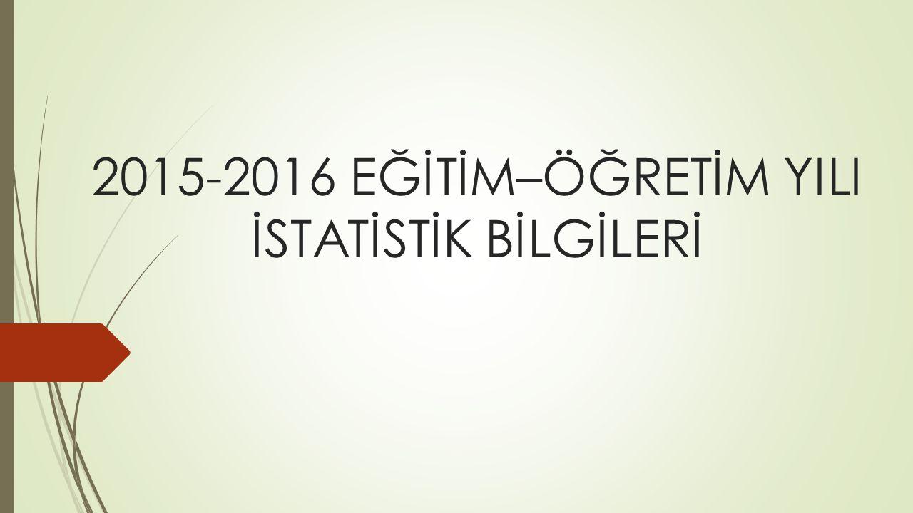 2015-2016 EĞİTİM–ÖĞRETİM YILI İSTATİSTİK BİLGİLERİ