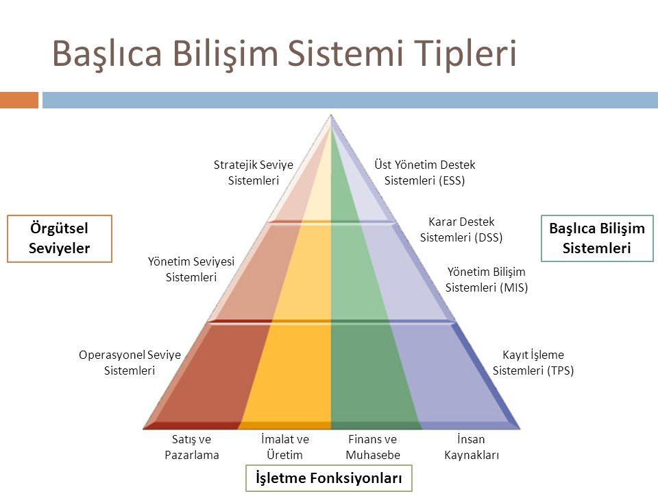 Başlıca Bilişim Sistemi Tipleri