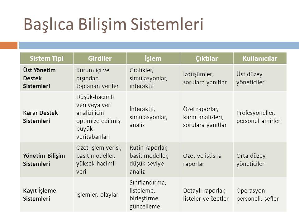 Başlıca Bilişim Sistemleri
