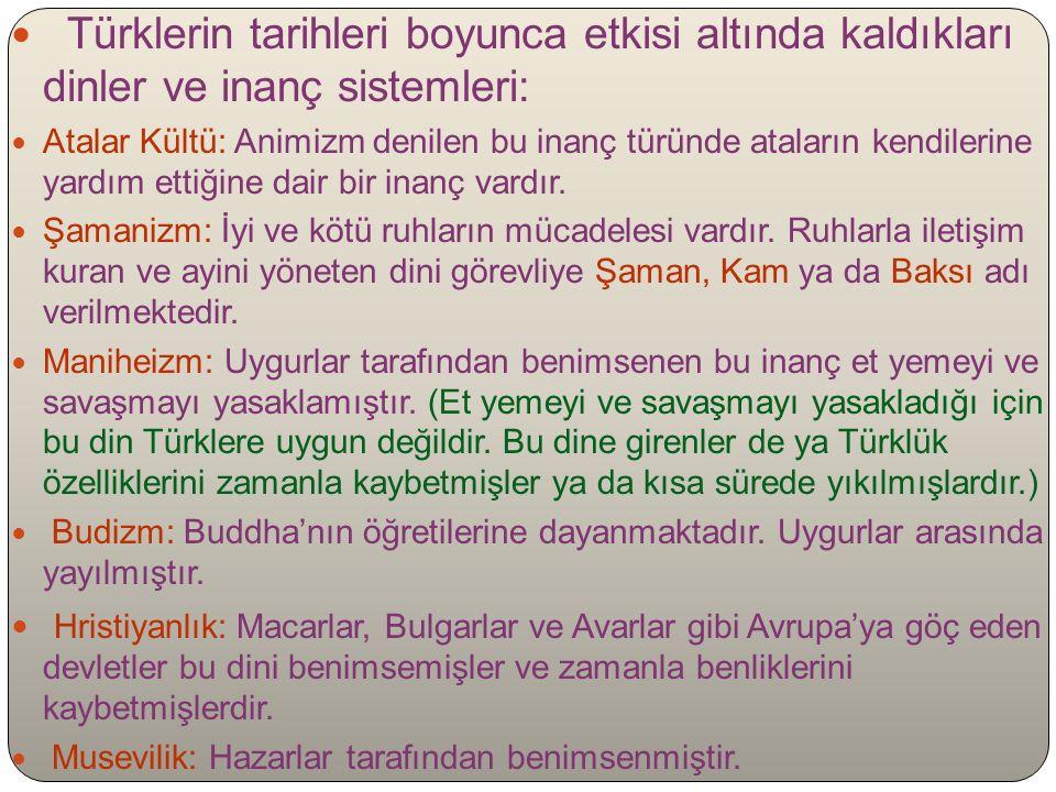 Türklerin tarihleri boyunca etkisi altında kaldıkları dinler ve inanç sistemleri: