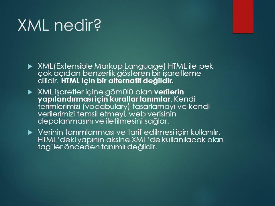 XML nedir XML(Extensible Markup Language) HTML ile pek çok açıdan benzerlik gösteren bir işaretleme dilidir. HTML için bir alternatif değildir.