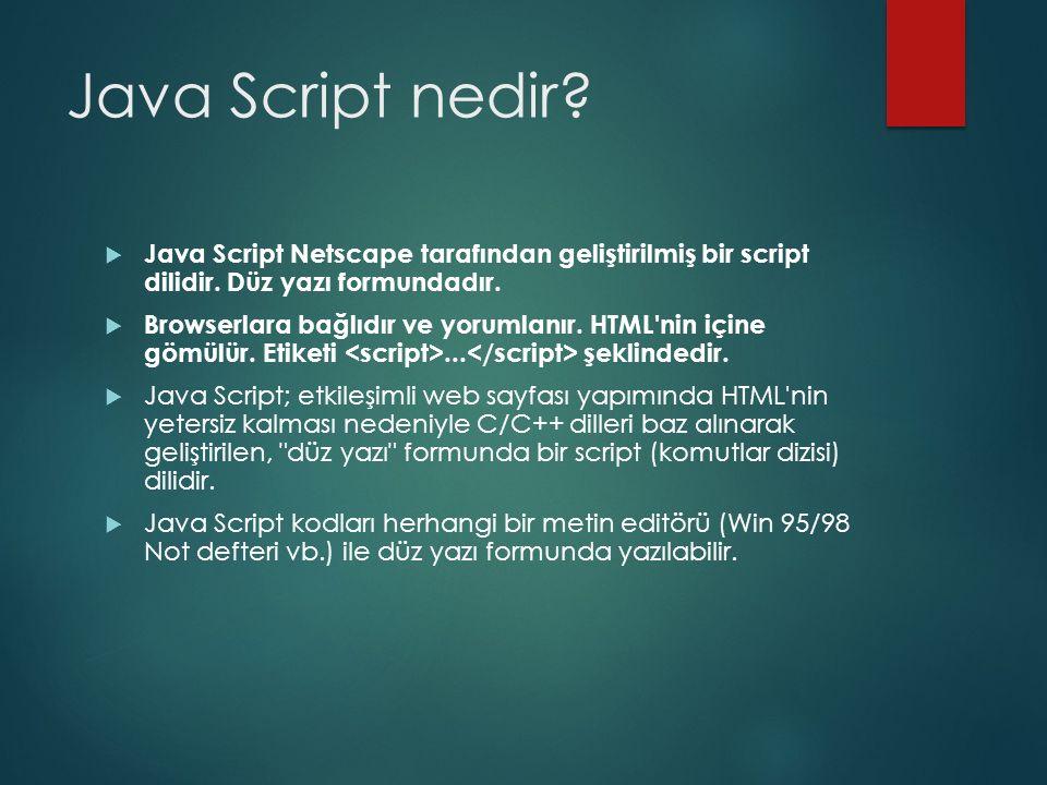 Java Script nedir Java Script Netscape tarafından geliştirilmiş bir script dilidir. Düz yazı formundadır.