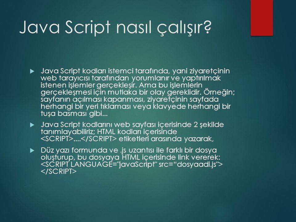 Java Script nasıl çalışır