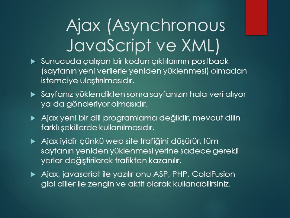 Ajax (Asynchronous JavaScript ve XML)