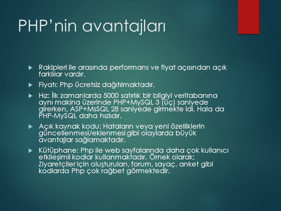 PHP'nin avantajları Rakipleri ile arasında performans ve fiyat açısından açık farklılar vardır. Fiyatı: Php ücretsiz dağıtılmaktadır.